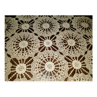 Vintage Handmade Lace Tablecloth Postcard