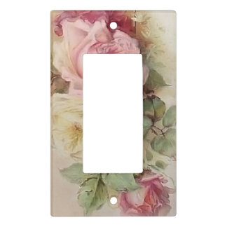 Vintage Handpainted Style Pink and White Roses Light Switch Cover