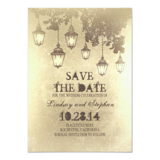 "Vintage hanging lamp lights save the date cards 4.5"" x 6.25"" invitation card"