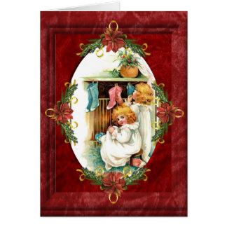 Vintage Hanging Stockings Christmas Card