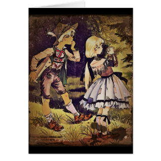 Vintage Hansel and Gretel See the Cottage Card