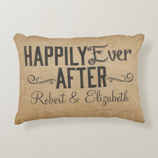 Vintage Happily Ever After Burlap Decorative Pillow
