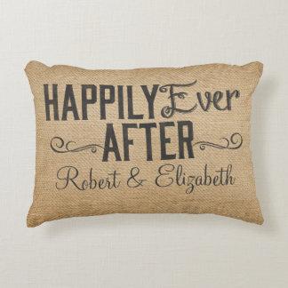 Vintage Happily Ever After Burlap Decorative Pillow