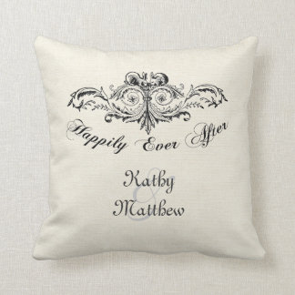 Vintage Happily Ever After Personalized Throw Pillow