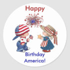 Vintage Happy Birthday America Classic Round Sticker