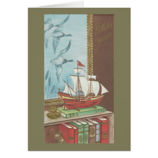 Vintage Happy Birthday Boat And Books Card