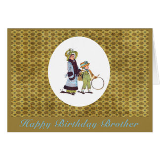 Vintage Happy Birthday Brother Greeting Card