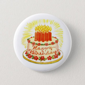 Vintage Happy Birthday Cake Pin