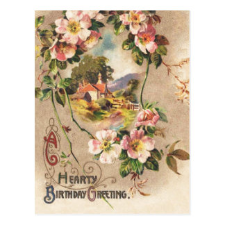 Vintage Happy Birthday Card Greeting