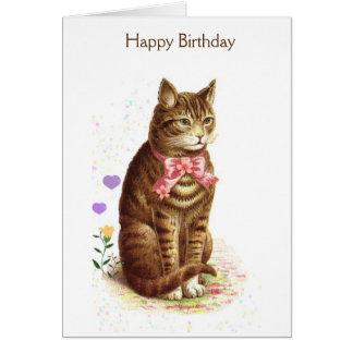 Vintage Happy Birthday Cat (Message Inside), Card