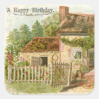 Vintage Happy Birthday Cottage Sticker