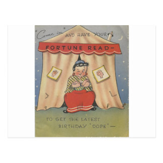 Vintage Happy Birthday Fortune Teller Postcard