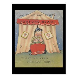 Vintage Happy Birthday Fortune Teller Postcard