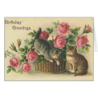 Vintage - Happy Birthday - Roses & Cats Card