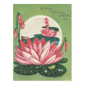 Vintage Happy Birthday Sister With Lily Pad Postcard