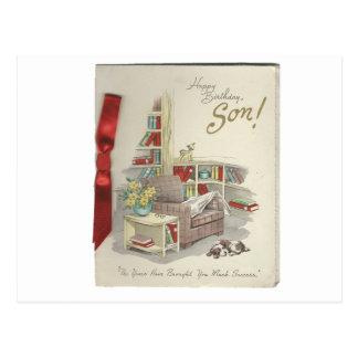 Vintage Happy Birthday Son Postcard