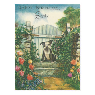 Vintage Happy Birthday Son With Dog Postcard