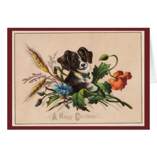 Vintage Happy Christmas Dog Card