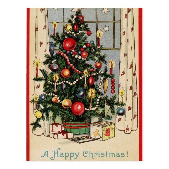 Vintage Happy Christmas Holiday Tree Postcard