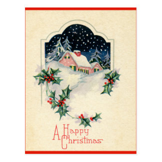 Vintage Happy Christmas Postcard
