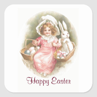 Vintage Happy Easter Child Square Sticker