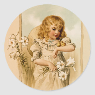 Vintage Happy Easter country girl and chicks Round Sticker