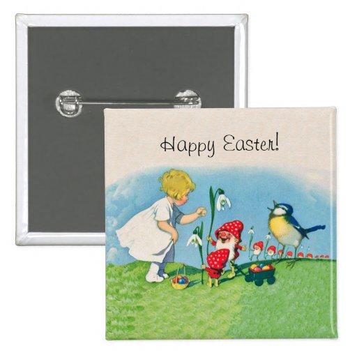 Vintage Happy Easter Elves Eggs Pinback Button