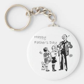 Vintage Happy Father's Day Basic Round Button Keychain