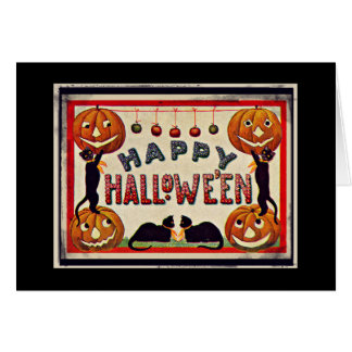 Vintage Happy Halloween Pumpkins Black Cats Card