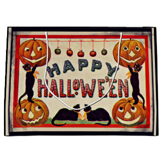 Vintage Happy Halloween Pumpkins Black Cats Large Gift Bag