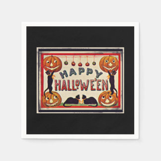 Vintage Happy Halloween Pumpkins Black Cats Paper Napkins