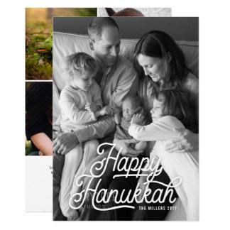 Vintage Happy Hanukkah Photo with Photos on Back Card
