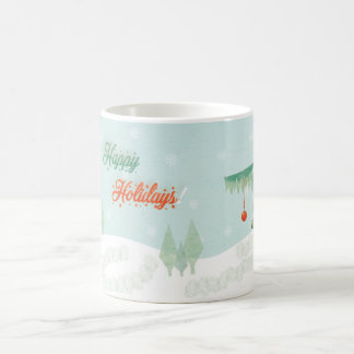 "Vintage ""Happy Holidays!"" landscape Coffee Mug"