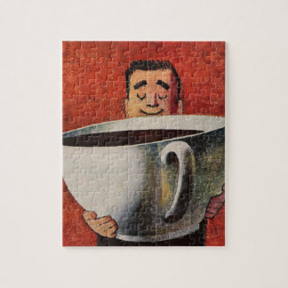 Vintage Happy Man Drinking Giant Cup of Coffee Jigsaw Puzzle