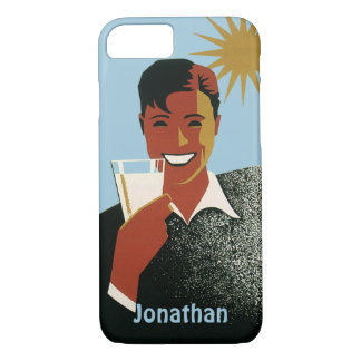 Vintage Happy Man Smiling Drink Cocktails Sunshine iPhone 7 Case