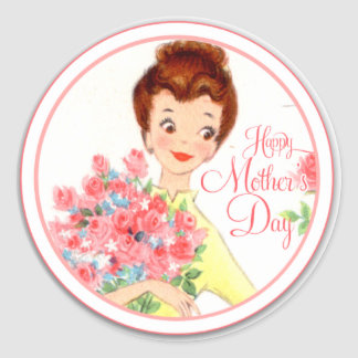 Vintage Happy Mother's Day Classic Round Sticker