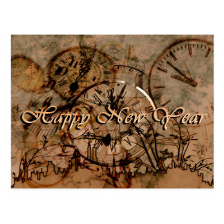 Vintage Happy New Year Clocks and Cityscape Postcard