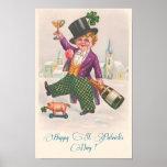 Vintage Happy St Patricks Day Shamrock Champagne Poster