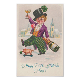 Vintage Happy St Patricks Day Shamrock Champagne Poster