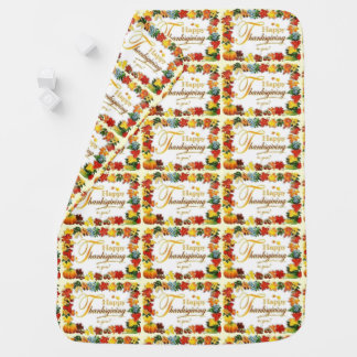 Vintage Happy Thanksgiving Colorful Leaves Baby Blanket