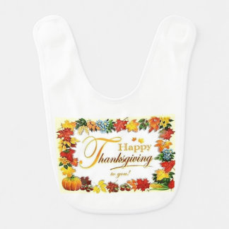 Vintage Happy Thanksgiving Colorful Leaves Bib