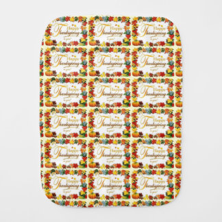 Vintage Happy Thanksgiving Colorful Leaves Burp Cloth
