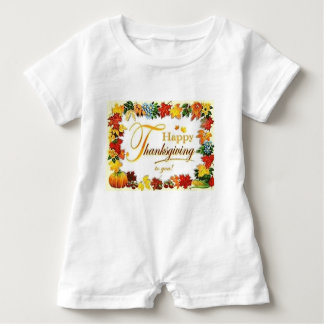 Vintage Happy Thanksgiving Colourful Leaves Baby Romper