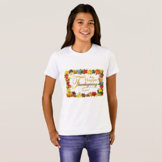 Vintage Happy Thanksgiving Colourful Leaves T-Shirt