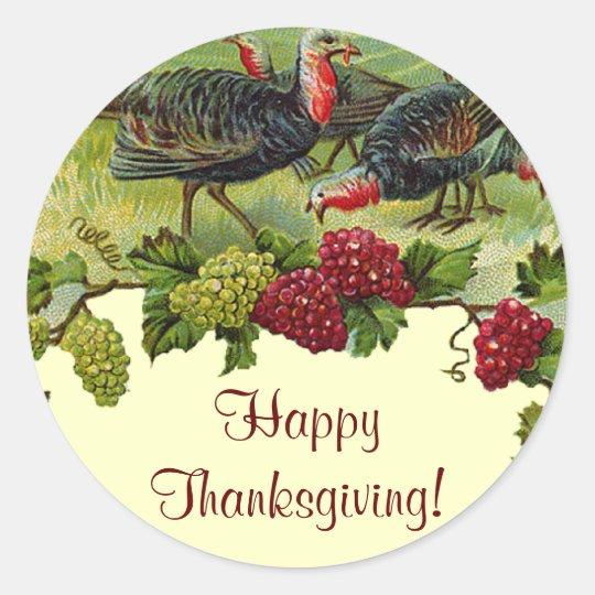 Vintage Happy Thanksgiving Turkey Classic Round Sticker