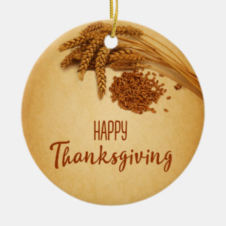 Vintage Happy Thanksgiving Wheat - Ornament