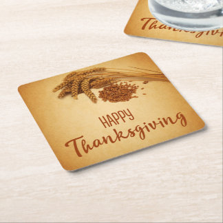 Vintage Happy Thanksgiving Wheat - Paper Coaster