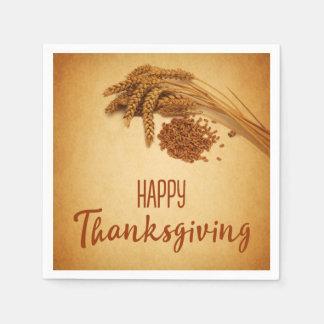 Vintage Happy Thanksgiving Wheat - Paper Napkin