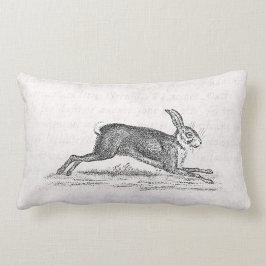 Vintage Hare Bunny Rabbit 1800s Illustration Lumbar Pillow