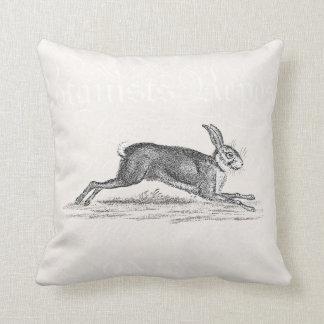 Vintage Hare Bunny Rabbit Illustration -Rabbits Throw Pillow
